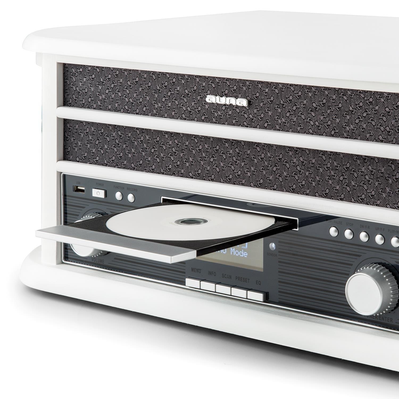 Auna /• Belle Epoque 1908 /• Giradischi /• Vintage /• Stereo /• Radio Digitale /• Dab /• Bluetooth /• Lettore CD /• MP3 /• RDS /• Lettore Cassette /• Porta USB /• digitalizzazione /• Telecomando /&bul
