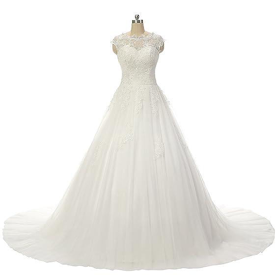 JAEDEN Cap Sleeve Appliqued Lace Ball Gown Wedding Dresses Bridal ...
