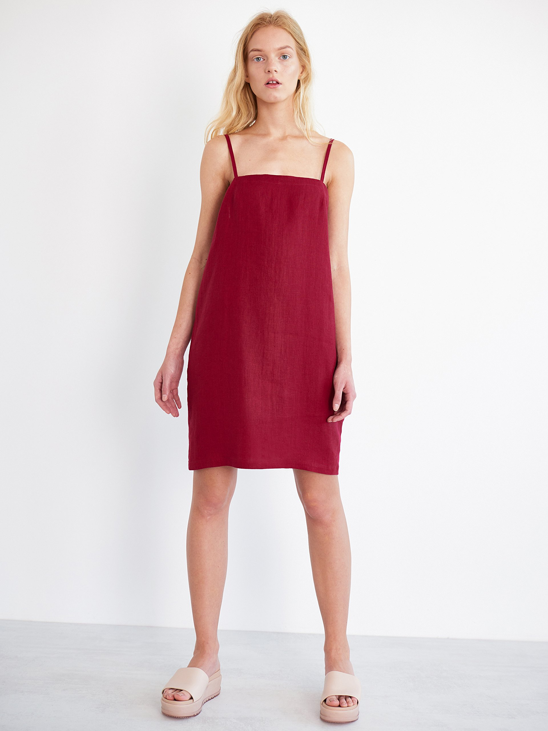 VIOLET Linen Slip Dress in Cherry Red Sleeveless Summer Thin Strap Cami Camisole Ladies Women