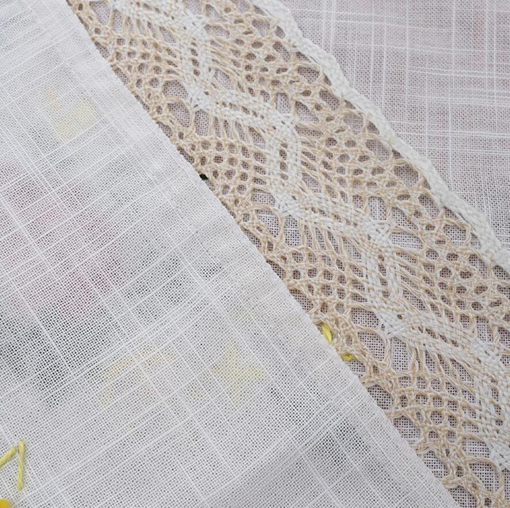 Manteles Rural hecho a mano ganchillo bordado gamuza de lino blanco gris mesa de café gamuza multiusos para toalla Rectangular, algodón, lino, 3, ...