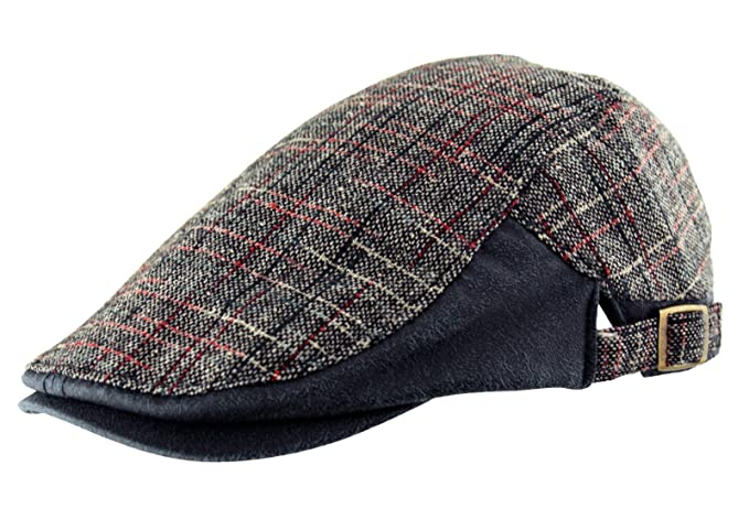 a9a2c586ddf49 Mens Cotton Country Tweed Check Faux Leather Flat Cap Golf Baker Boy (Navy  Blue)