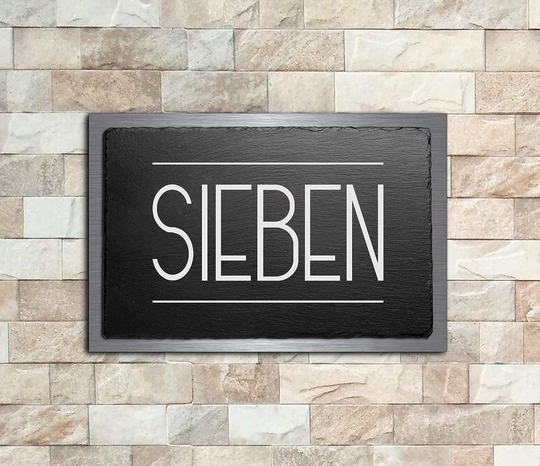 Hausnummer aus Schiefer und V2A Edelstahl Premium T/ürschild Namensschilder mit Gravur und Motiven Familien-schilder f/ür die Haust/ür mit Namen selbstklebend oder mit Bolzen 30x20 cm