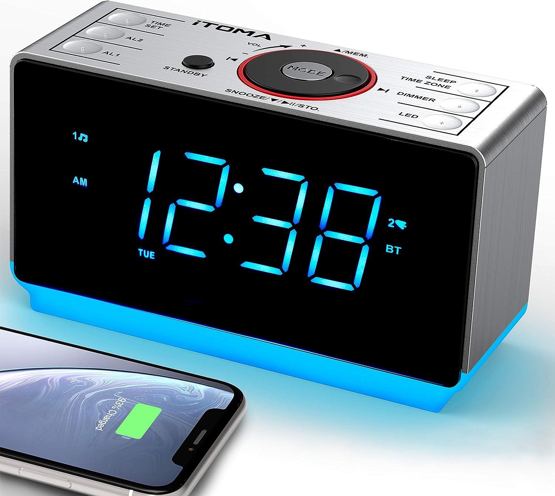 iTOMA - Despertador Digital con Radio y Bluetooth, Radio FM, Alarma Dual con repetición de Alarma, regulador de Intensidad, Temporizador de sueño, Puerto de Carga USB 708