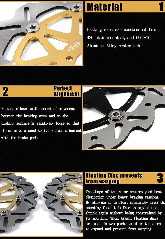 Arashi Front Rear Brake Disc Rotors for SUZUKI GSXR 1000 2001 2002 Motorcycle Replacement Accessories GSX-R1000 R600 R750 GSX-R 1000 GSXR 600 750 GSXR1000 Gold 01 02