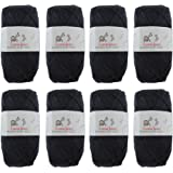 Cotton Select Sport Weight Yarn - 100% Fine Cotton - 8 Skeins - Col 001 - Witching Hour Black