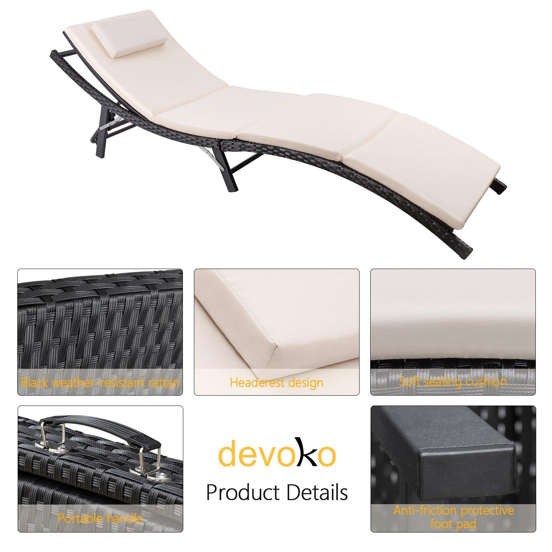 Devoko Patio Chaise Lounge Sets Outdoor Rattan Adjustable Back 3 Pieces Cushioned Patio Folding Chaise Lounge with Folding Table (Beige Cushion) by Devoko (Image #3)