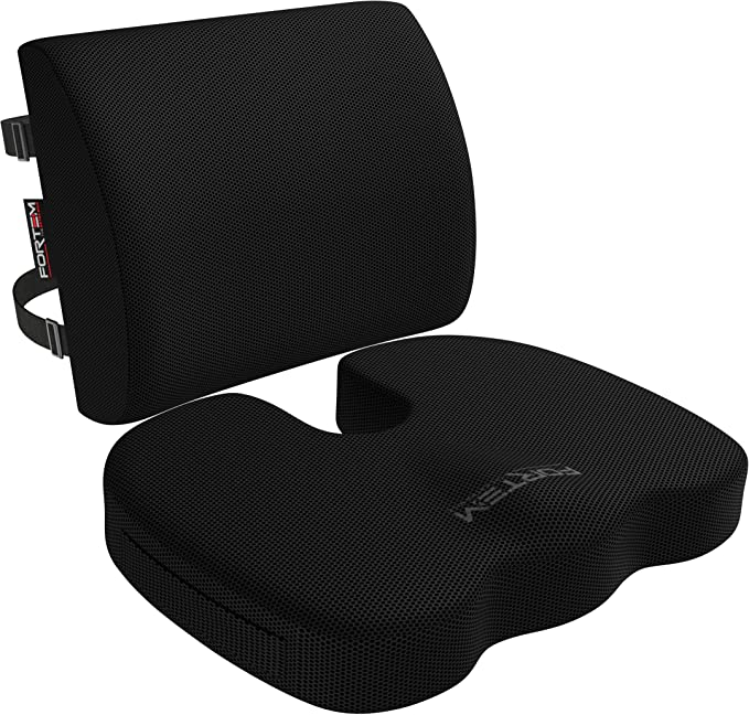 fortem seat cushion lumbar support for office chair car wheelchair memory foam pillow washable covers black