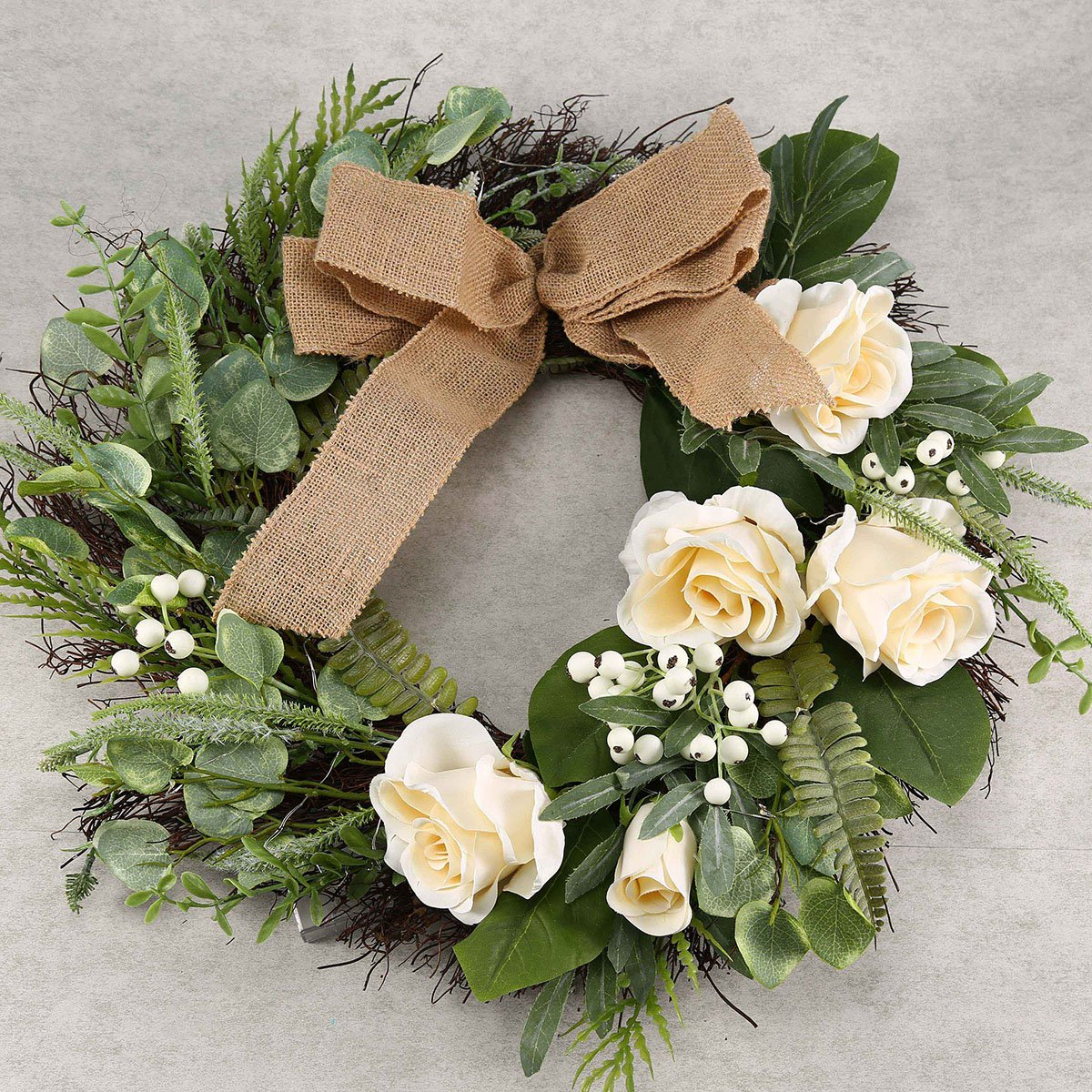 Artificial Outdoor Wreath With Lights 19 Inch Handcrafted Wreaths for Winter Home Decor, Green Front Door Wreath for Garden (Rose)