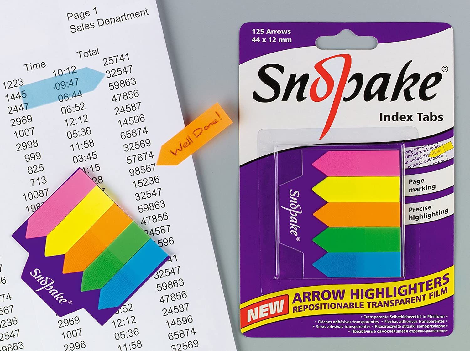 Snopake 44x12mm Index Tab Arrow Highlighter Pack of 12 Pieces Assorted Colours