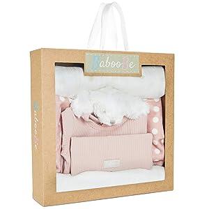 Newborn Baby Gift Set - Unisex Onesie, Hat, Plush Security Blanket for Girl, Boy