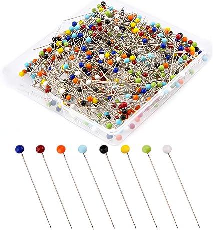 alfileres rectos alfileres de cabeza de bola de cristal multicolor 800 pasadores de costura de 40 mm