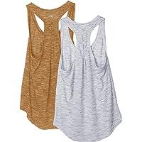 icyzone Camiseta sin Mangas de Yoga para Mujer Chaleco Deportivo, Pack de 2