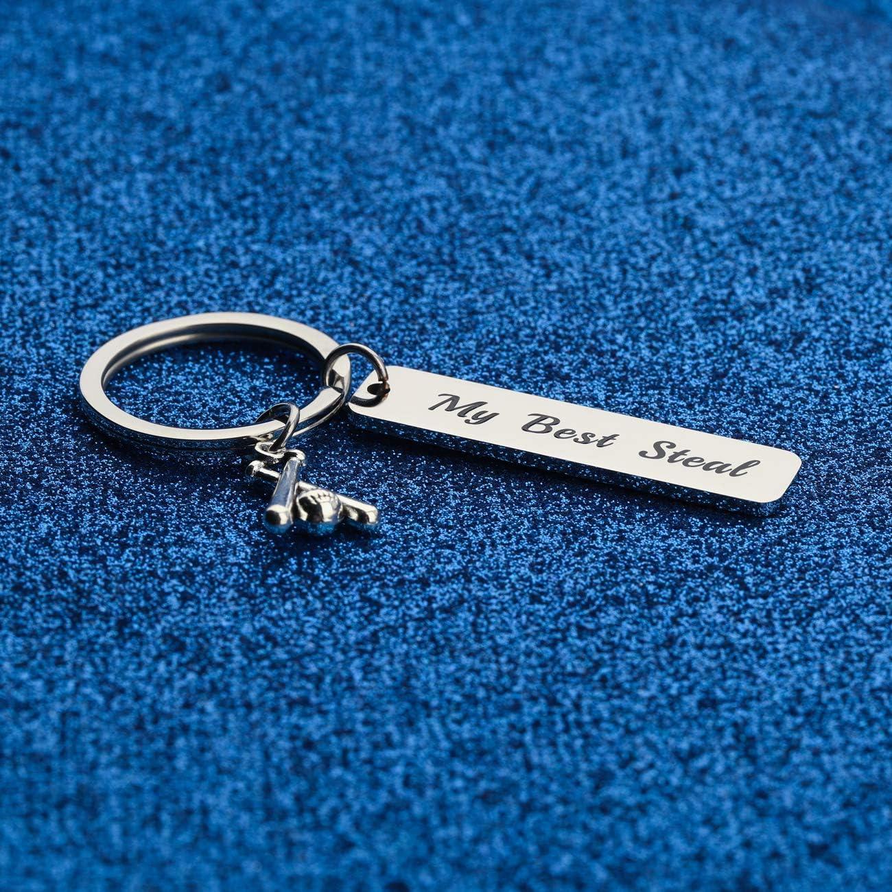 WUSUANED Baseball Player Gift My Best Steal Keychain Baseball Team Gift Baseball Jewelry