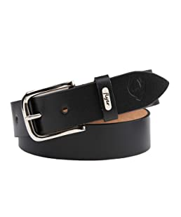 Flyer Men's Leather Belt (Formal/Casual) Branded (Colour -Black) (Size -40) Stylish Buckle Adjustable Size Genuine Quality