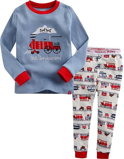 Vaenait - Juego de 2 pijamas de manga larga para niños de 1-7 años, diseño de tren: Amazon.es: Ropa y accesorios