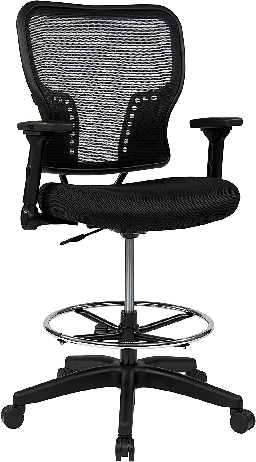 SPACE Seating Deluxe AirGrid Back and Padded Mesh Seat, Pneumatic Seat Height Adjustment and 4-Way Adjustable Flip Arms Managers Chair, Black