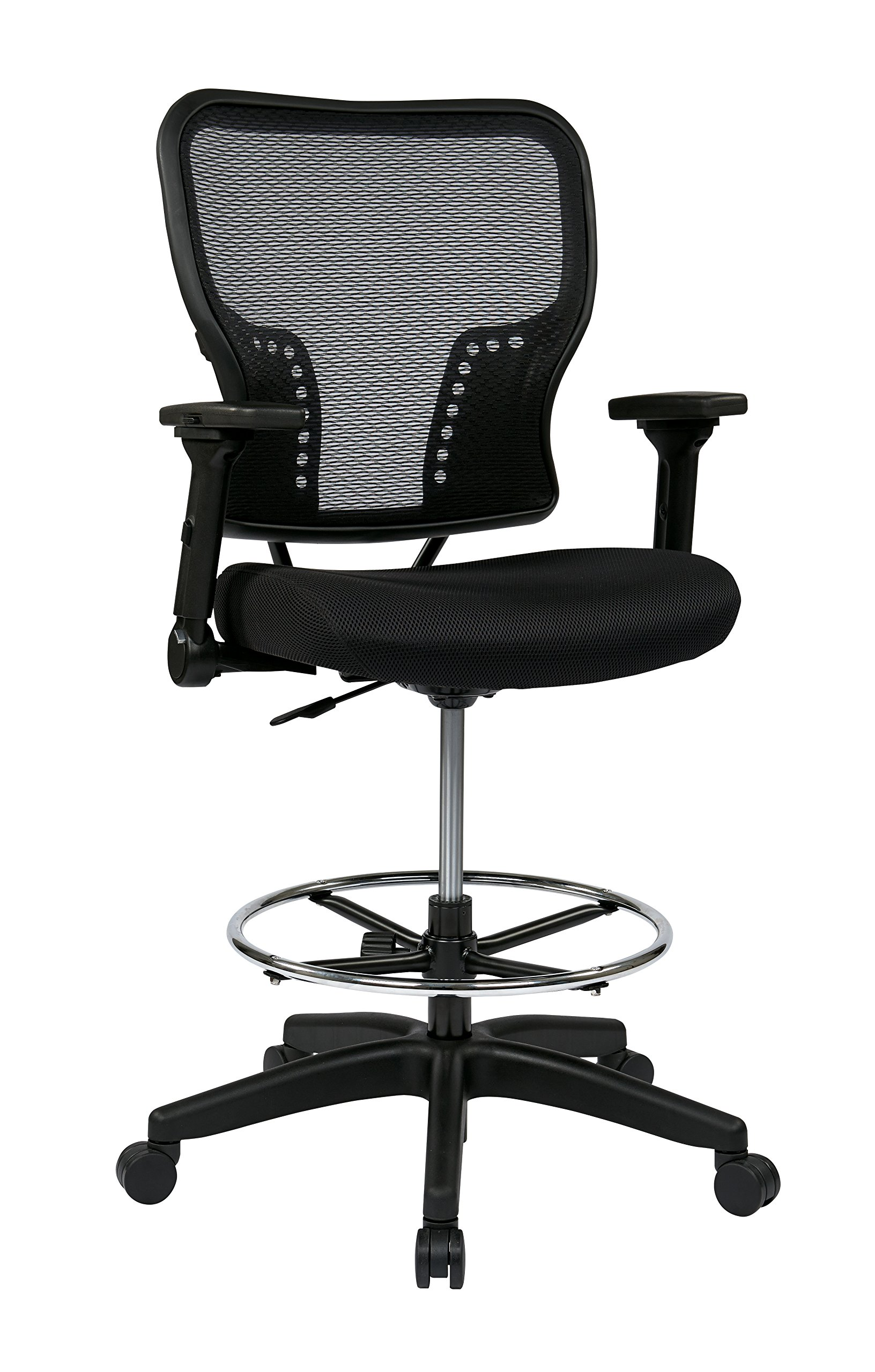 SPACE Seating Deluxe AirGrid Back and Padded Mesh Seat, Pneumatic Seat Height Adjustment and 4-Way Adjustable Flip Arms Managers Chair, Black by Space Seating