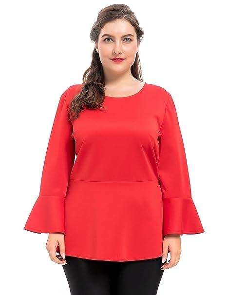 Chicwe Blusas Túnicas Tops Tallas Grandes Mujeres Elástico Camisas de Peplum Mangas de Campana Rojo 3X