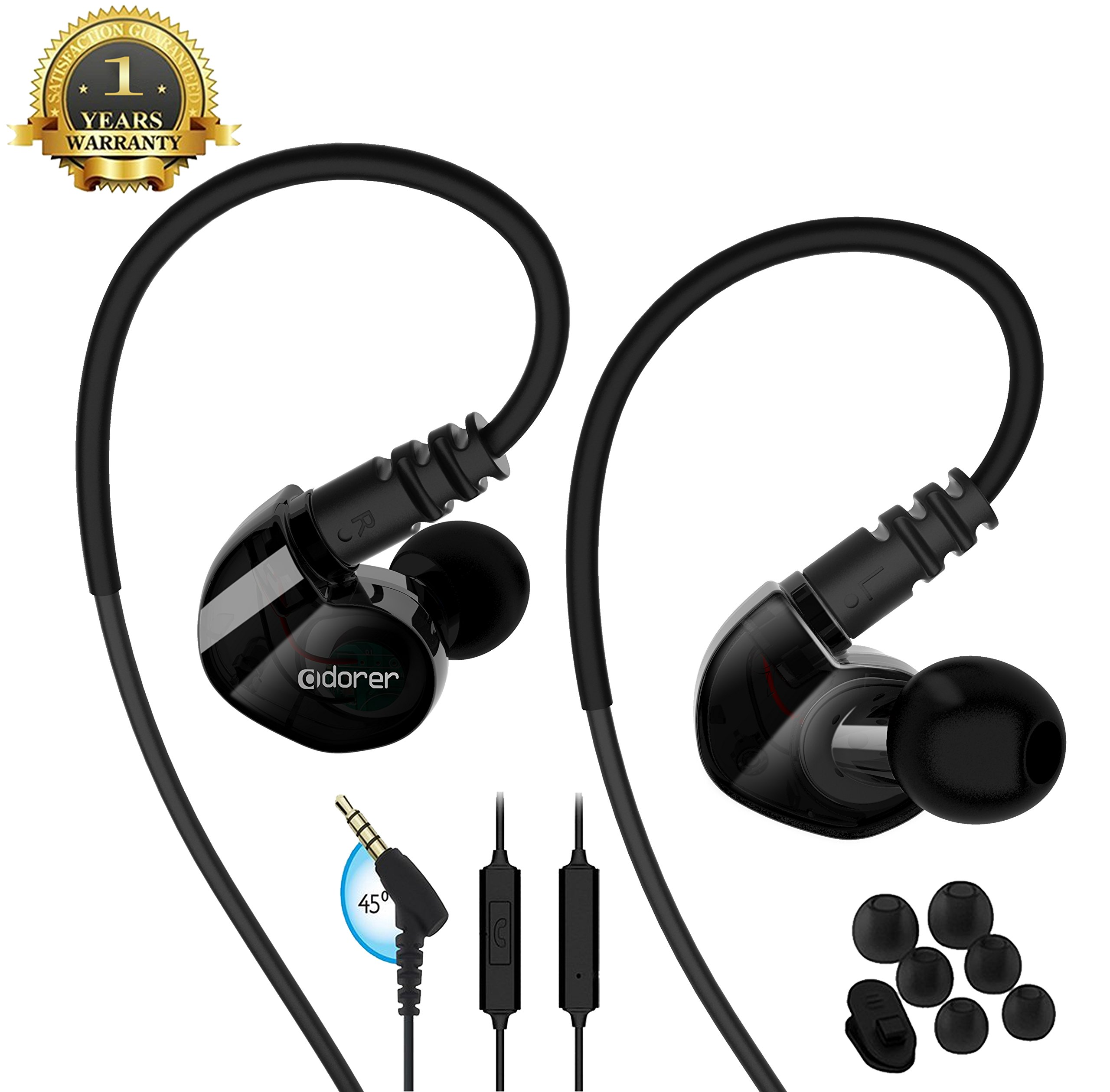 running Sports earbud Headphones Wired Over Ear In Ear Headsets Noise Isolation waterproof Earbuds Enhanced Bass Stereo Earphones with Microphone and Remote for Running Jogging Gym (Transparent black)
