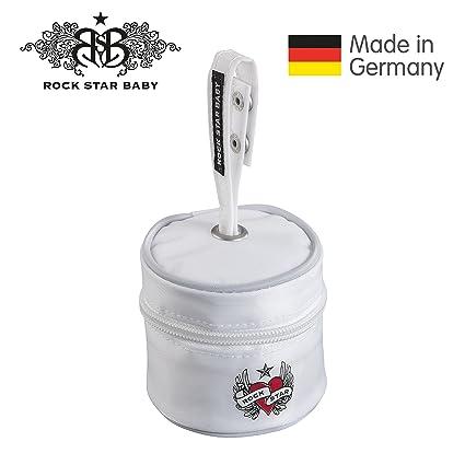 Rock Star de Baby – Chupete de bolsa higiénica para guardar Con práctica asa. Elegante Chupete Box blanco blanco
