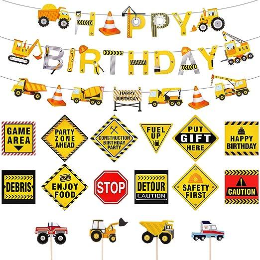 Juego de kits de decoración de fiesta de cumpleaños para la fiesta de camiones de decoración, 39 piezas en total