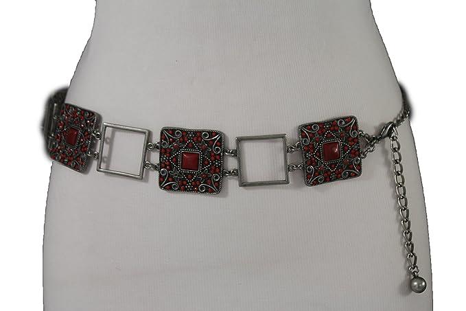 1850c698af9a TFJ Women Belt Metal Chains Hip Waist Antique Silver Red Flowers Charms  Plus M L XL
