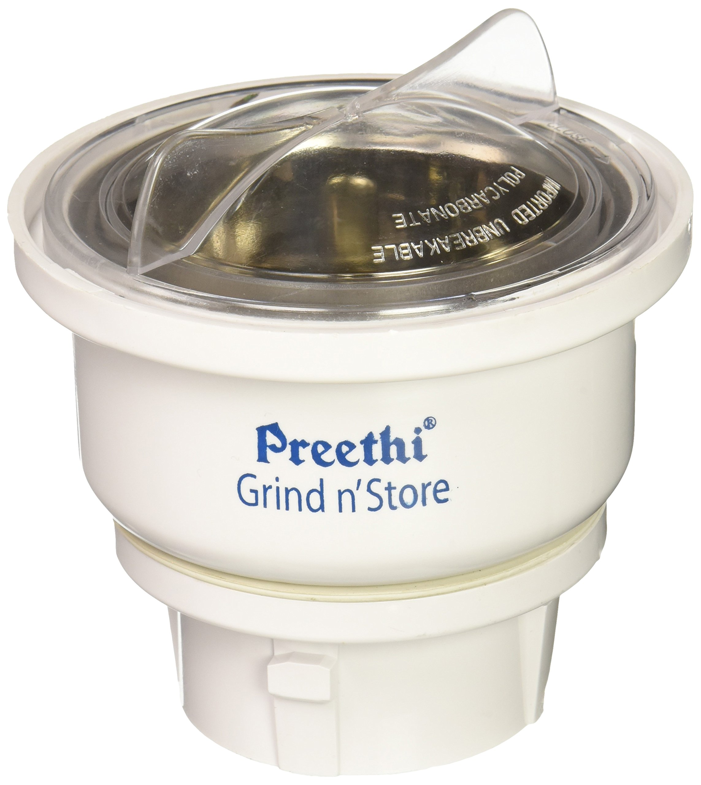 Preethi 0.4-Liter Grind n' Store Blue Leaf Chutney Jar