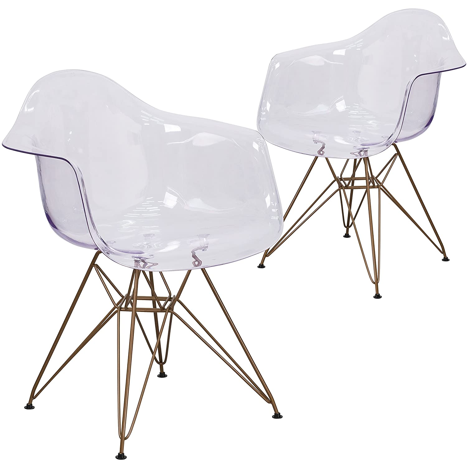 Flash Furniture 2 Pk. Allure Series Transparent Side Chair with Gold Base
