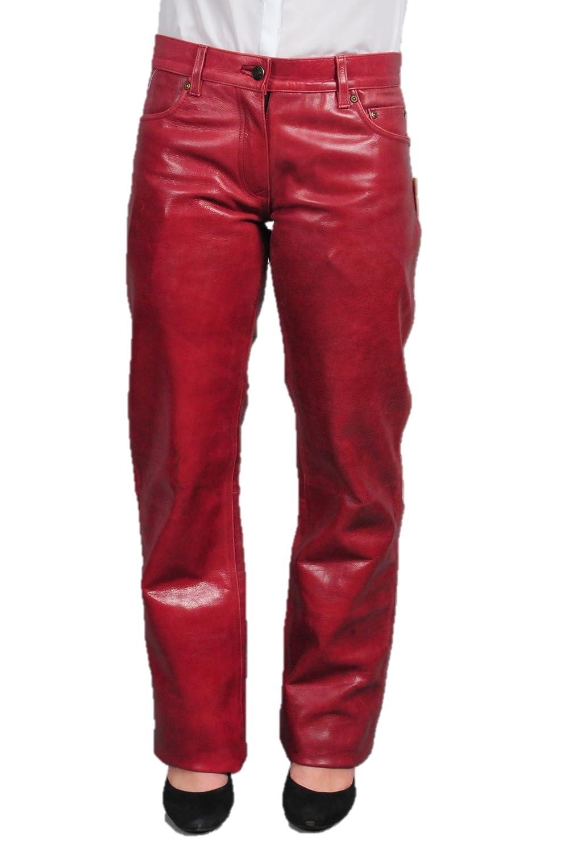 Lederhose Damen lang - Lederjeans Herren- Echt Leder, Lederhose Jeans 501 Rot- Motorrad Lederjeans- Fuente Moderne Lederhose in Rind Nappa antik 501BU