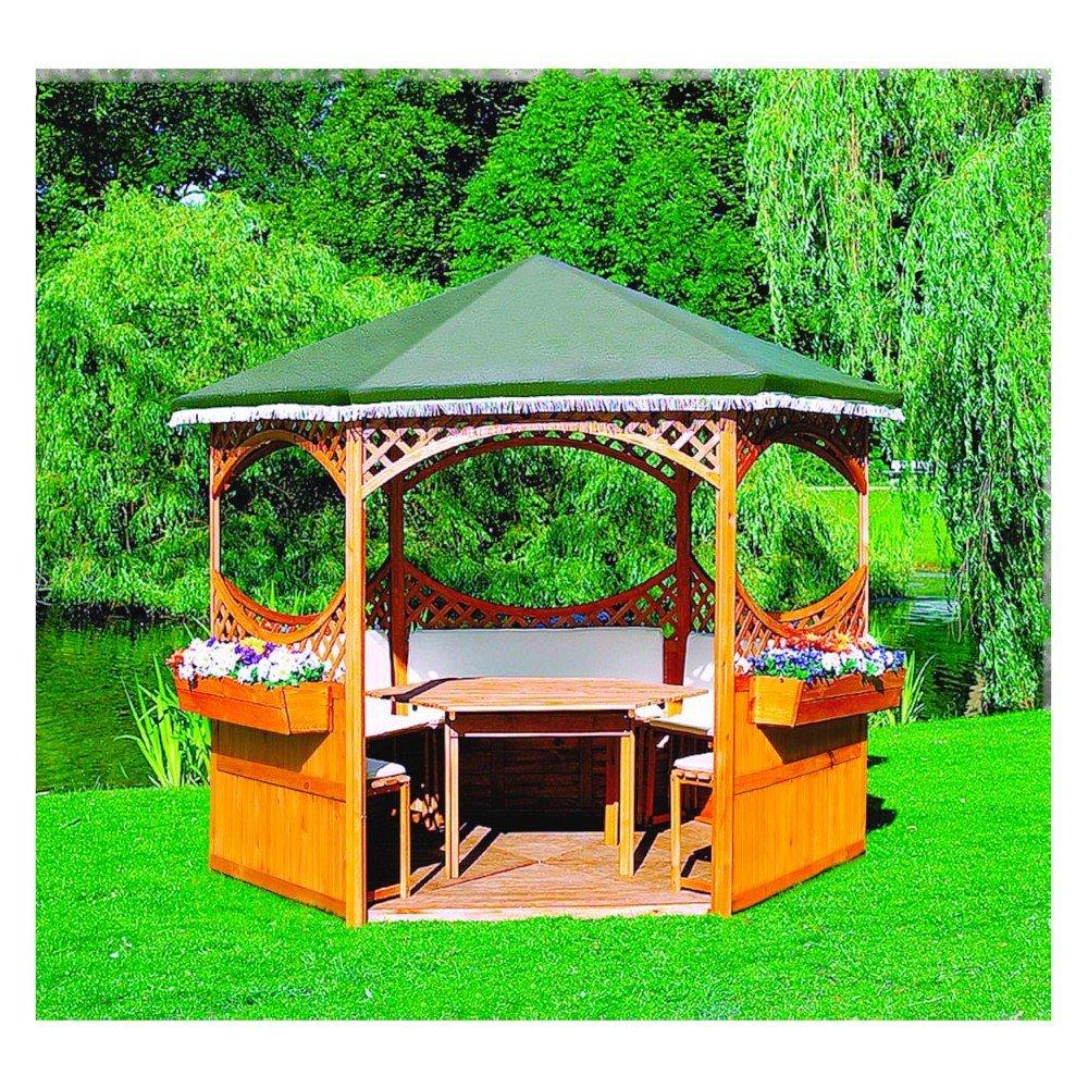 Pavillon Palma Foliendach mit oder ohne Möbel Holzpavillon, Ausstattung:mit Möbel