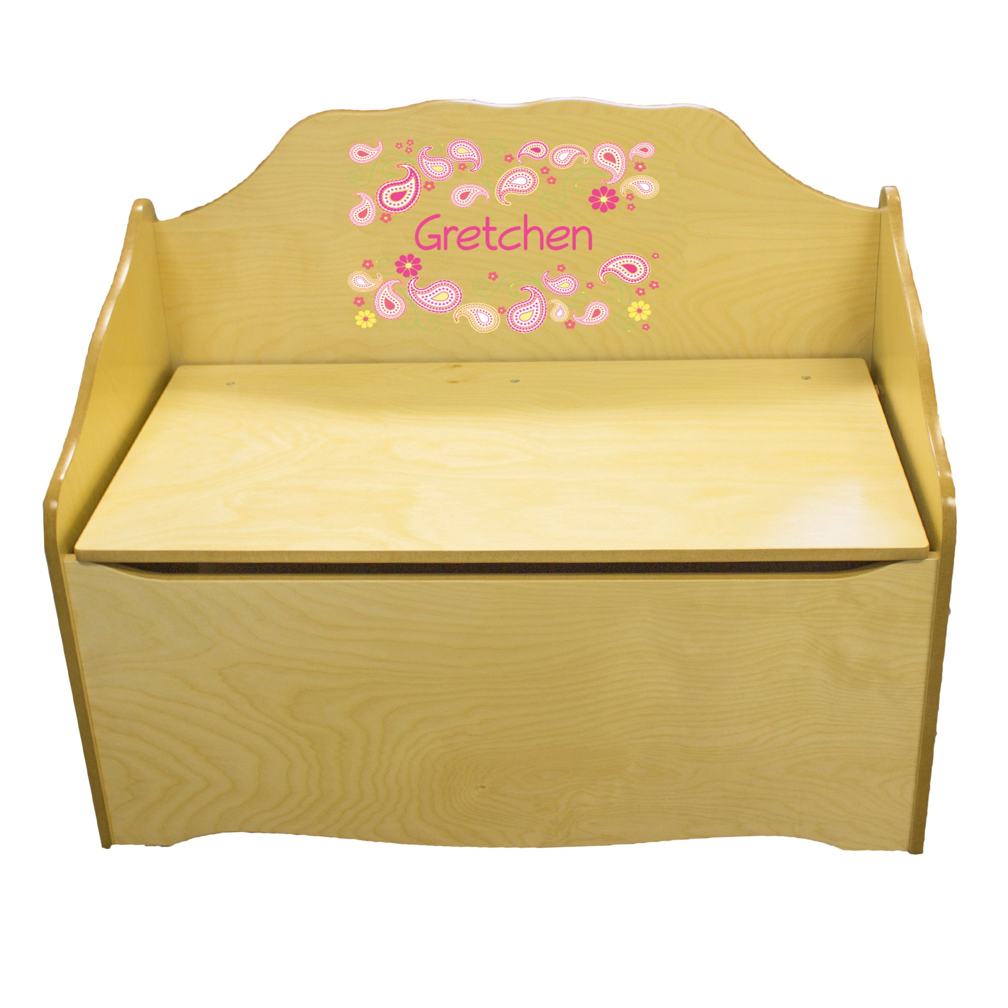 Personalized Paisley Sherbert Childrens Natural Wooden Toy Chest