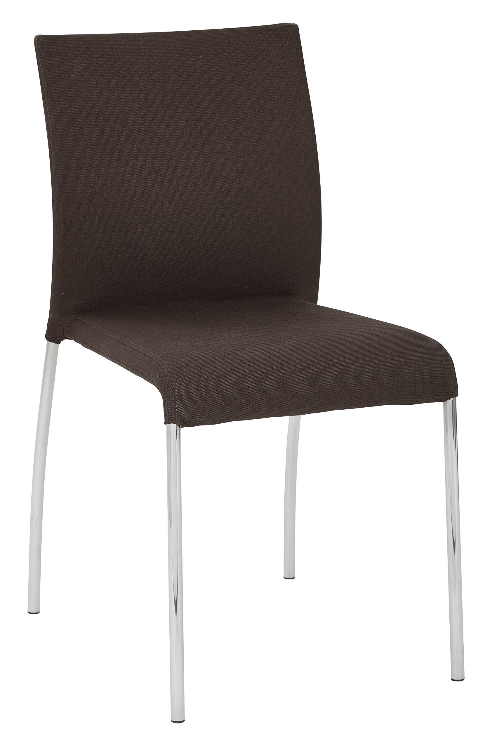 AVE SIX Conway Upholstered Stacking Chair with Chrome Legs, 4-Pack, Chocolate