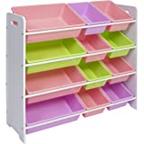 Best Choice Products Kids White And Pastel Toy Bin Storage Organizer For Bedroom And Play Area