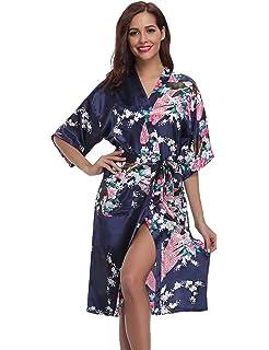 Aibrou Kimono Mujer Batas Largas Lenceria Pavo & Flores