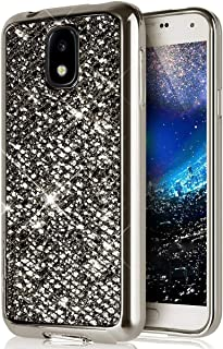 SainCat Cover Compatibile con Samsung Galaxy J3 2017 Custodia Ultra Slim Morbido Silicone con Brillantini Bling Anti-Scratch TPU Bumper Glitter Case-Oro