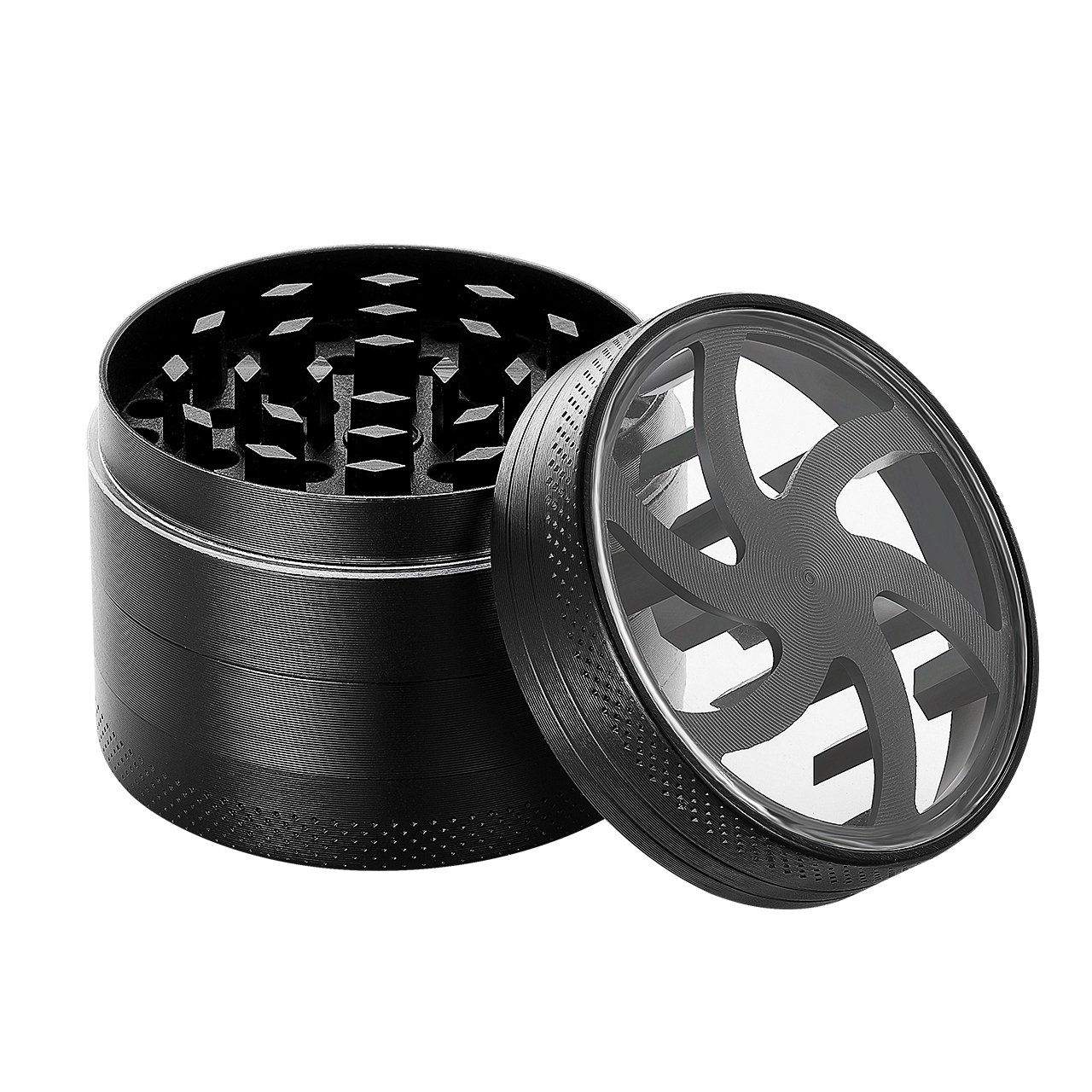 Herb Grinder, TopElek 2-inch Herb Grinder with a Scraper, 4-Layer 3-Chamber Design, Hollow-Out Style Lid, Powerful Magnetic Lid, Razor-Sharp Teeth, Zinc Alloy Material Made, Portable, Black