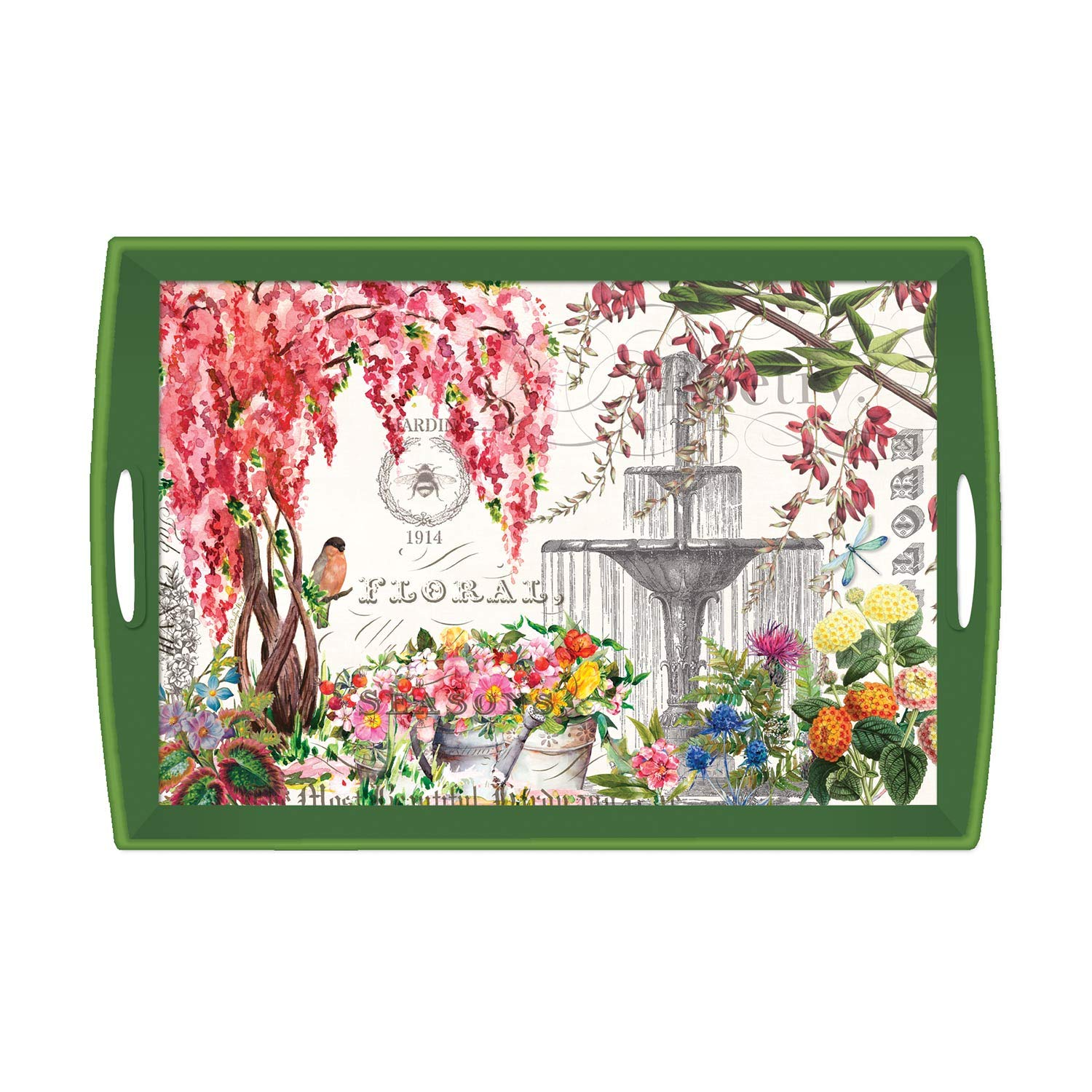 Michel Design Works Large Decoupage Wooden Tray, Bouquet