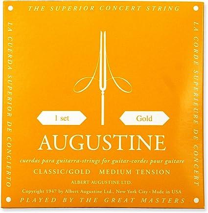 Augustine Cuerdas para Guitarra Clásica, Oro, Juego, Tensión Medio ...