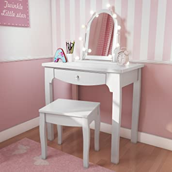 best website d966f c3cd7 Victoria Kids White 1 Drawer Dressing Table Set with Stool and Mirror,  Crystal Effect Handles