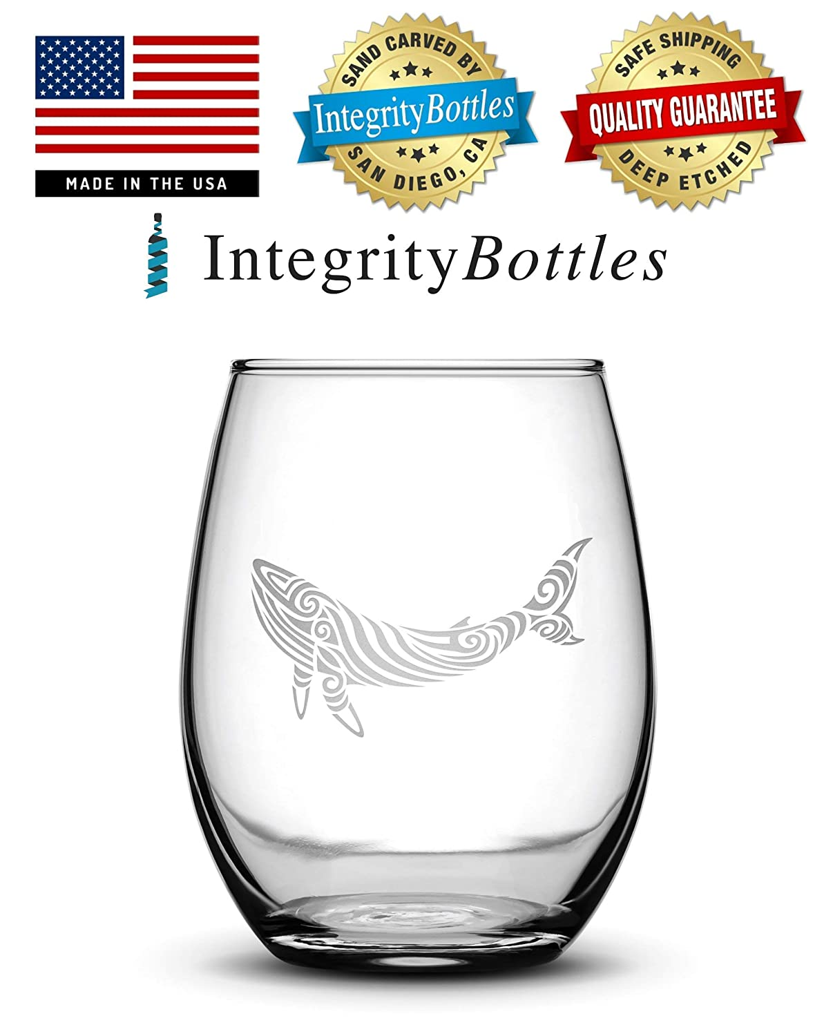 Integrity Bottles Tribal Whale Stemless Wine Glass Hand Etched 14.2 oz Unique Gifts Made in USA Sand Carved