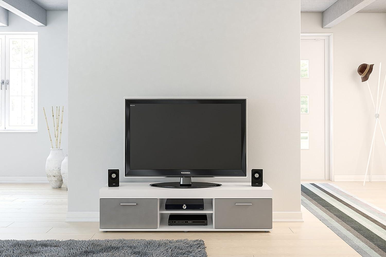 Birlea Edgware TV Unit, Black White & Grey