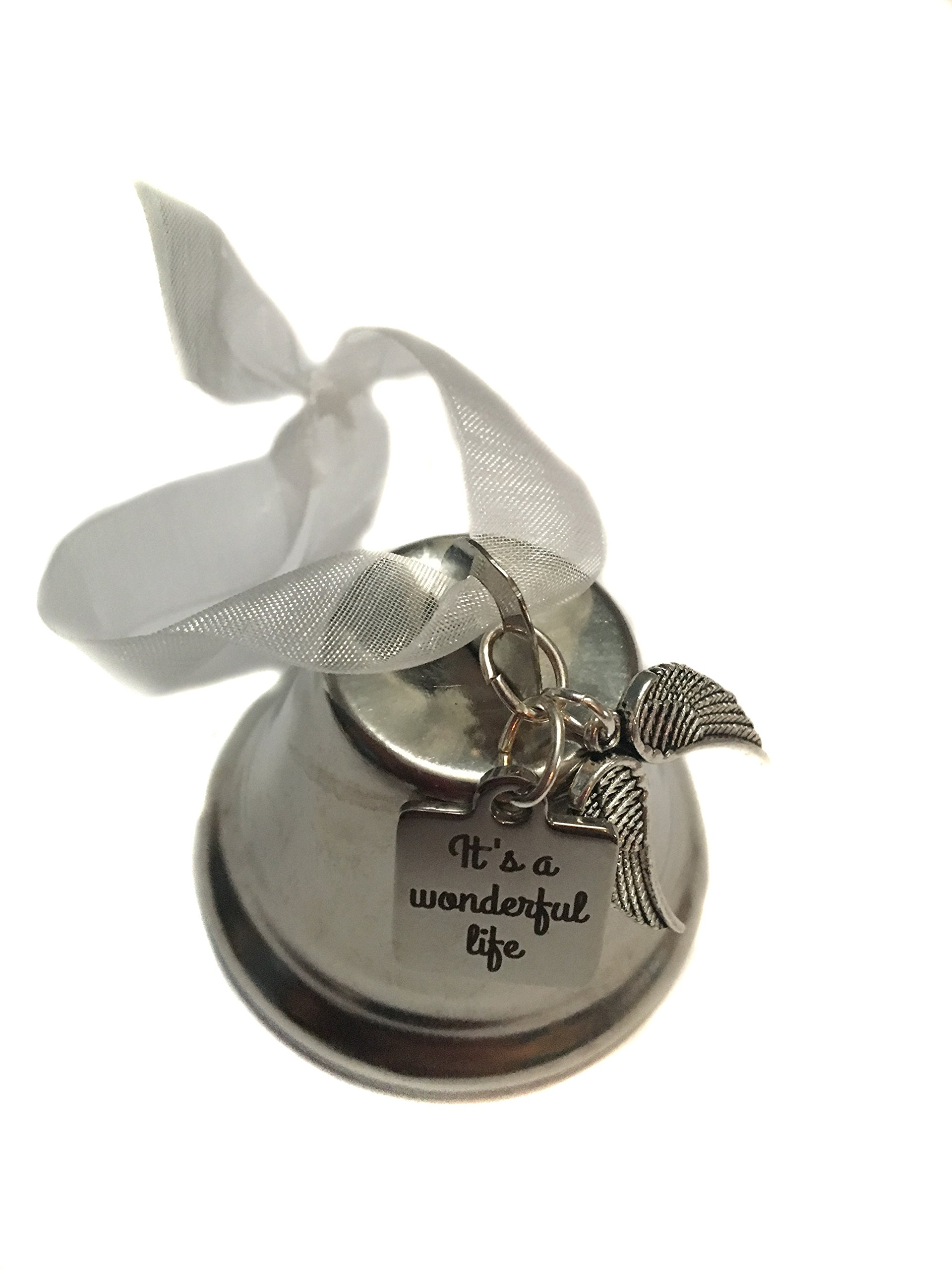 ''It's A Wonderful Life'' Movie Inspired, Double Angel Wing Charm Bell 2'' Ornament, Classic Christmas Gift