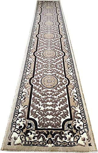 Traditional Long Oriental Persian Runner Area Rug Ivory Beige Brown Black Americana Carpet King Design 101 32 Inch X 15 Feet 10 Inch