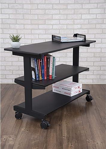 Stand Up Desk Store 3-Shelf Rolling Desk Return Side Desk Organizer and Bookcase on Wheels