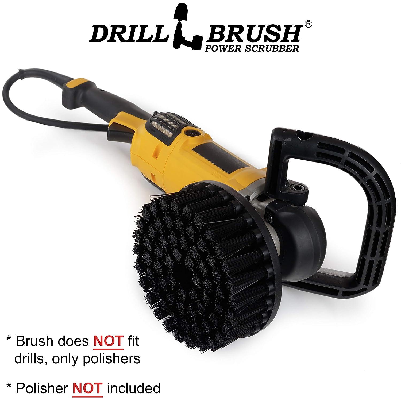 Industrial – DA - Scrub Brush - 7-in Black Ultra Stiff Bristles - Variable Speed Polisher - 5/8 x 11 Threaded Hub - Floor Cleaner - Furnace - Grill - Grate - Stone - Grill Brush - Rust Remover - Brick