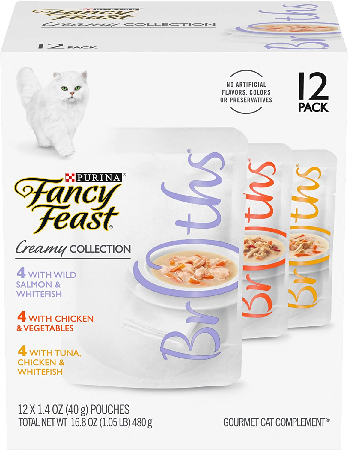 Purina Fancy Feast Grain Free Wet Cat Food Variety Pack, Broths Creamy Collection - (12) 1.4 oz. Pouches