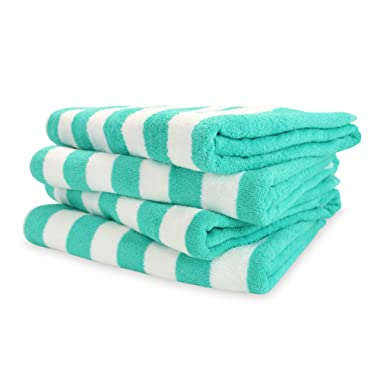 Arkwright California Cabana Striped Oversized Beach Towel Pack of 4, Ringspun Cotton Double Yarn Strength, Perfect Pool Towel, Beach Towel, Bath Towel (Extra Large 30 x 70 Inch, Green)