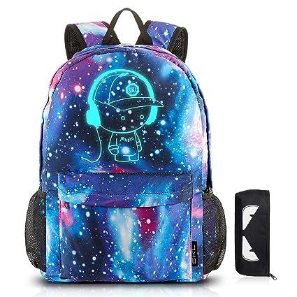 cf1faf1ce8f School Backpack SKL Anime Cartoon Luminous Backpack Galaxy Backpack with  Pencil Case, School Bookbag Lightweight Laptop Backpack for Boys Girls Teens