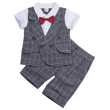 2aa7890549b27 iiniim 2Pcs Smoking Set Enfant Garçon d'honneur Gentleman Costume de  Baptême Mariage Cérémonie Carreaux
