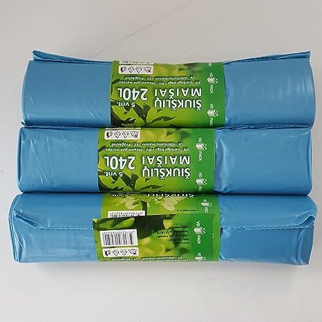Bolsas de Basura 120L 160L 240L Resistente Bolsas de Basura Con Cordón Bin Liner Muy Resistente y Fuerte por Soncare (240L)